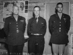 Gen. Benjamin O. Davis, Sr., Brig. Gen. Noel F. Parrish, and Gen. Benjamin O. Davis, Jr. at Tuskegee Army Airfield during World War II.