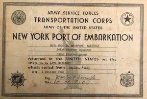 Embarkation paperwork