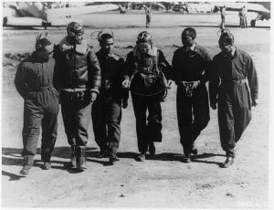 First graduating class of African American pilots in U.S. Army Air Corps at theAdvanced Flying School, Tuskegee, Alabama. L-R: G.S. Roberts, B.O. Davis, C.H. DeBow, R.M. Long, Mac Ross, and L.R. Curtis. Archive photo credits: Air Force Historical Research Agency