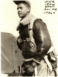 Tuskegee Airmen MSgt James Sheppard in 1944 in Ramitelli, Italy.