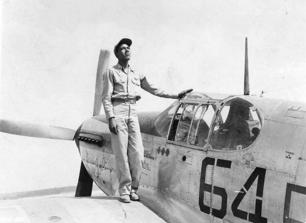 Joseph D. Elsberry with his plane Jodabelle