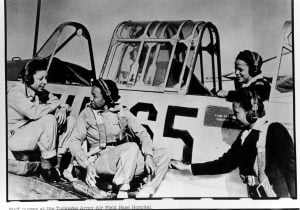 Nurses from the base hospital at Tuskegee Army Air Field, Alabama, receive familiarization training on one of the training aircraft. This training included an orientation ride in the BT-13 aircraft.