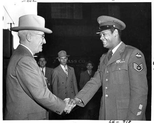 President Truman with an unidentified Air Force Sergeant on October 12, 1950. Photo courtesy of the Harry S. Truman Museum & Library.